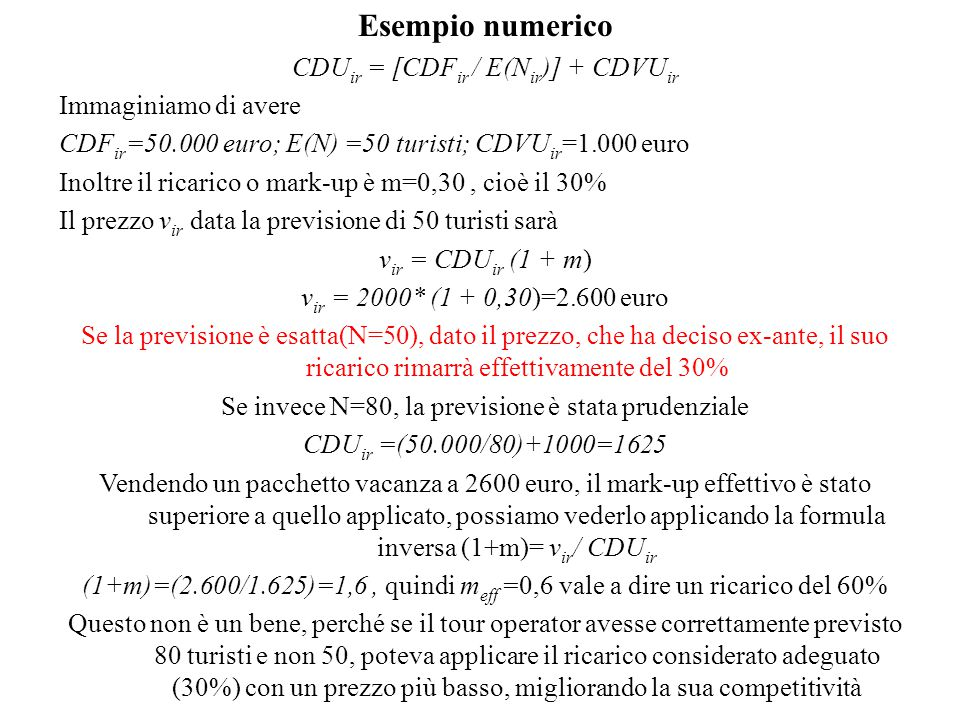 Esempio numerico CDUir = [CDFir / E(Nir)] + CDVUir